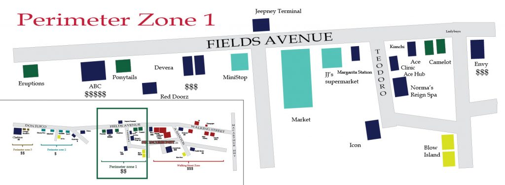 Map of Fields Avenue, Angeles City, Philippines